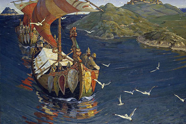 Картина Николая Рериха «Заморские гости» из серии «Начало Руси. Славяне»