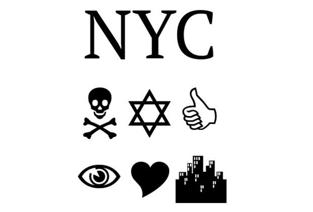 NYC, набранное шрифтами ПТ Сериф, Wingdings, Webdings (сверху вниз).