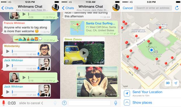 Скриншоты интерфейса мессенджера на iOS