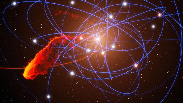 Расчетная траектория движения облака G2, падающего в черную дыру в центре Млечного пути.