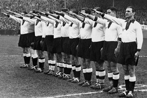 Unlocated picture released March 18, 1935 of the German national soccer team players executing the nazi salute.