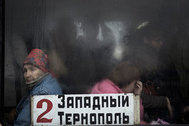 A crowded bus in Tiraspol on 10 November 2009 ,Tiraspol is the capital and administrative centre of the de facto independent Pridnestrovian Moldavian Republic (Transnistria).
