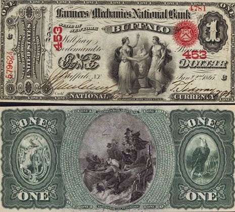 """One dollar national bank notes were issued by most national banks that were open from 1862 until 1878. These notes feature two women holding hands as the central theme. A large number one can be seen on the left hand side of the bill. The word """"ONE"""" is also printed all across the bill in many places. One dollar national bank notes are not rarer. However, they can be valuable if they are in great condition or if they are from a rare bank. Please contact us for exact rarity.  The backs of one dollar national bank notes all have the same scene which shows The Landing Of The Pilgrims."""