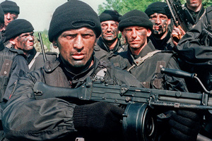 Several commandos, members of the Arkan's Tigers train 12 June 1995 in Osijek, a Serb-held area of Slavonia, a region in eastern Croatia.