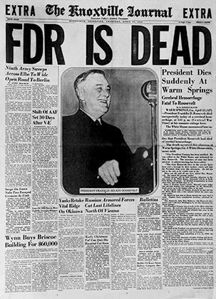 Сообщение о смерти Рузвельта, апрель 1945 года