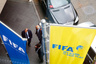 FIFA flags are pictured outside the Marritot hotel, where a meeting of the Confederation of African Football (CAF) is taking place, in Zurich, Switzerland, May 27, 2015.