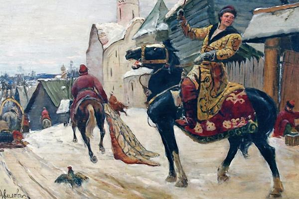 «Опричники в Новгороде», художник М. Авилов