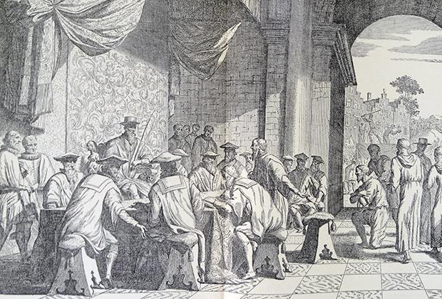 Совет крови. Специальный трибунал, учрежденный в 1567 году герцогом Альба, призванный наказать зачинщиков политических и религиозных восстаний в Нидерландах. Свое название он получил из-за многочисленных смертных приговоров.