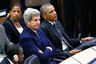 U.S. President Barack Obama (R) attends a United Nations meeting on the Ebola outbreak, in New York September 25, 2014. With Obama are National Security Advisor Susan Rice and Secretary of State John Kerry.