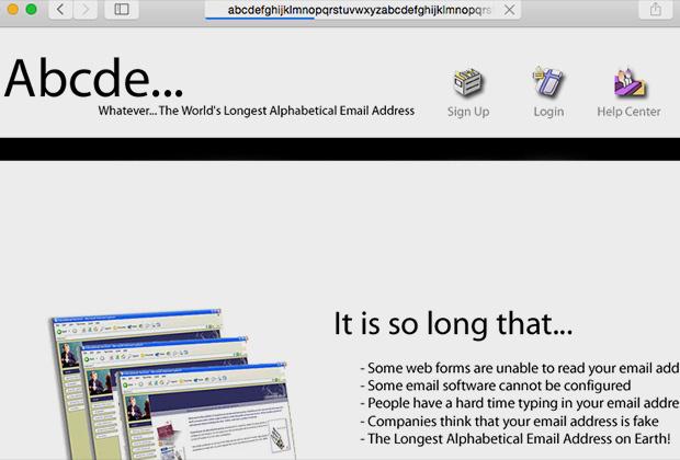 Сайт с именем, которое содержит 2,5 алфавита
