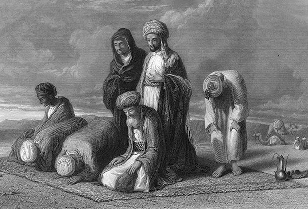 Мусульмане молятся, повернувшись лицом к Мекке, середина XIX века