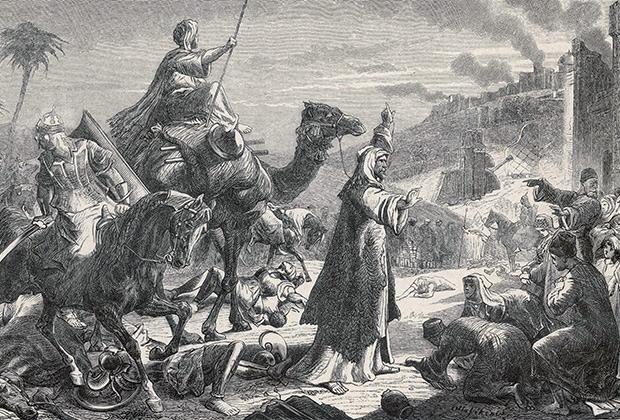 Халиф Умар ибн аль-Хаттаб входит в завоеванный им Иерусалим, 637 год