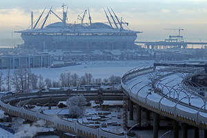 ST. PETERSBURG, RUSSIA. JANUARY 18, 2016. A section of the Western High-Speed Diameter toll bypass under construction on Kanonersky Island. Alexander Demianchuk/TASS