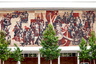 Советское наследие в Дрездене, Германия. Бывший Дворец культуры. Построенное в 1969 году здание выполнено в стиле социалистического модерна и его, как и многие другие подобные сооружения, украшает гигантская мозаика на пролетарскую тему. Сейчас здесь проводятся музыкальные мероприятия.