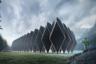 В основе конструкции — многогранный модуль Tetra Shed, созданный дизайнером Дэвидом Аджас-Адекунле, основателем студии Innovation Imperative. Модуль был представлен на выставке Grand Designs Live London, где экспонируются различные дизайнерские решения для дома и сада, в 2012 году.