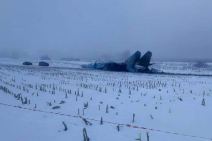 Появились первые фотографии разбившегося на Украине Су-27