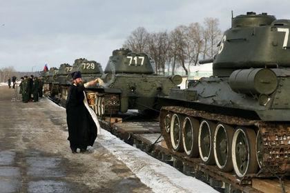 Россия обзавелась батальоном освященных Т-34