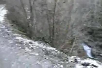 Рухнувший в абхазское ущелье российский БТР показали на видео