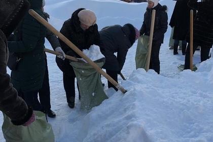 Российских учителей отправили собирать снег в мешки для листвы photo