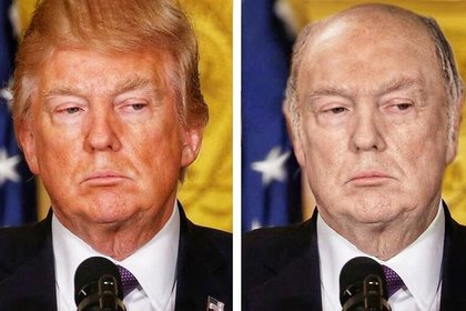 Фото лысого Трампа без загара выложили в сеть