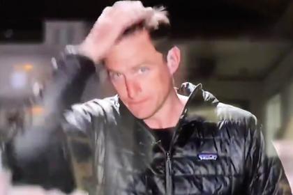 Репортер растер слюни по волосам в прямом эфире и оконфузился
