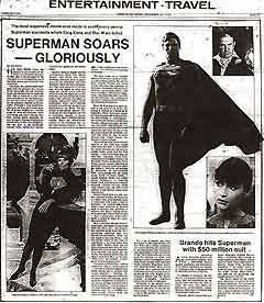 """ВОСТОРЖЕННАЯ РЕЦЕНЗИЯ КРИТИКИ. Газета """"Toronto Weekend Magazine"""", декабрь 1978. Фото с сайта www.supermancinema.net"""