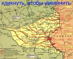 Карта боевых действий в Арденнах с 16 декабря 1944 года по 1 января 1945 года, с сайта europeanmilitarytours.com