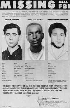 Объявление ФБР о розыске пропавших активистов, фото с сайта www.law.umkc.edu