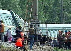 """Поезд """"Грозный - Москва"""" после взрыва. Кадр НТВ"""