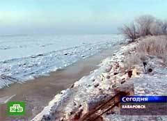 Замерзший Амур в районе Хабаровска, кадр НТВ