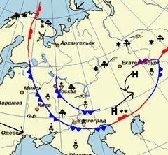 Карта вторжения холодных фронтов в Московский регион с сайта mosmeteo.hmn.ru