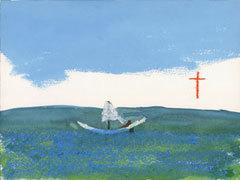 """Одно из полотен Джона Лури под названием """"Гарри не хотел ничего говорить, но появление Иисуса испортило ему весь отпуск"""""""