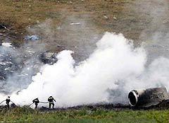 Место крушения лайнера Ту-154 под Донецком. Фото AFP