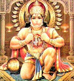 Хануман, хранящий в груди Раму и Ситу. Фото с сайта wikipedia.org