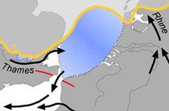 450 тысяч лет назад. Желтым показана граница ледника, голубым – озеро, стрелками указан ток Темзы и Рейна, красным – прорыв антиклинали Вельд-Артуа. Иллюстрация Nature