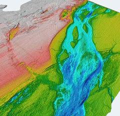 Карта глубин Па-де-Кале. Синему цвету соответствует промытое русло. Иллюстрация Nature