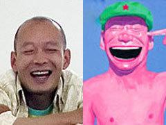 """Юэ Миньцзюн и фрагмент его картины из серии """"Шапки"""". Иллюстрации с сайта remediosvaro.biz"""