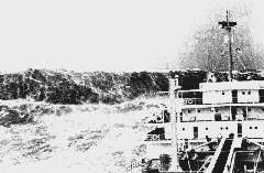 """Волна в Бискайском заливе в 1993 году (тип """"белая стена""""). Фото NOAA."""