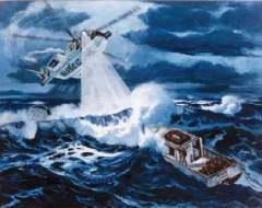 Волны-убийцы могут представлять опасность даже для спасательных вертолетов. Изображение Военно-морского института США.