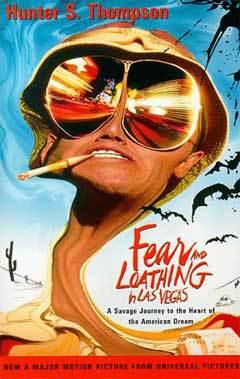 """Обложка книги Хантера Томпсона """"Страх и отвращение в Лас-Вегасе"""", в оформлении которой использован образ, созданный Джонни Деппом в экранизации романа"""