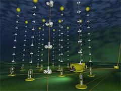 """Реконструкция нейтринного телескопа """"Антарес"""". Изображение с сайта antares.in2p3.fr"""