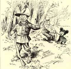 Во время одной из охотничьих экспедиций Рузвельта преследовали неудачи. Тогда несколько его помощников изловили медведя, привязали его к дереву, а затем позвали президента и предложили застрелить его. Рузвельт отказался, заявив, что это неспортивно. 16 но