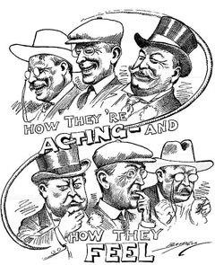 """""""Как они притворяются и как они себя чувствуют"""". Предвыборная карикатура на Теодора Рузвельта, Вудро Вильсона и Уильяма Говарда Тафта"""