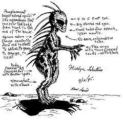 Схема строения тела чупакабры. Изображение с сайта alienvideo.net