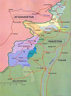 Карта Федерально-управляемых племенных территорий (FATA). C сайта wikipedia.org