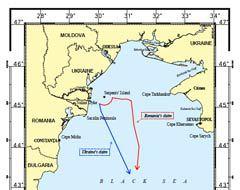 Морская граница по версии Украины (синяя) и Румынии (красная). Кликните для увеличения.