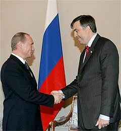 Владимир Путин и Михаил Саакашвили. Фото AFP
