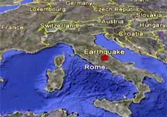 Эпицентр землетрясения на карте региона сервиса Google Earth
