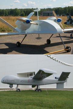 """БПЛА """"Аист"""" (сверху) и """"Дозор-600"""" (снизу). Фото с сайтов airwar.ru и wikipedia.org"""
