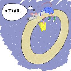 Фундаментальная группа тора обозначается п1 (T2). Из-за того, что она нетривиальна, руки мыши образуют нестягиваемую петлю. Грусть на лице животного - результат осознания этого факта.